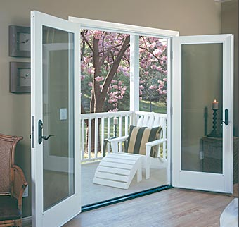 Product ultra doorsinswing on aluminum sliding window